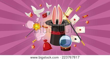 Magician rabbit horizontal concept. Cartoon illustration of magician banner horizontal vector for web
