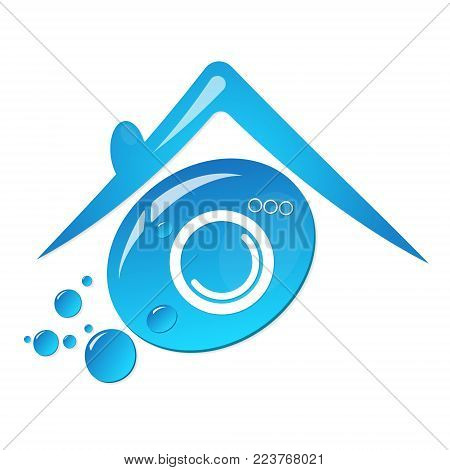 Water drop symbol for dry cleaning and laundry