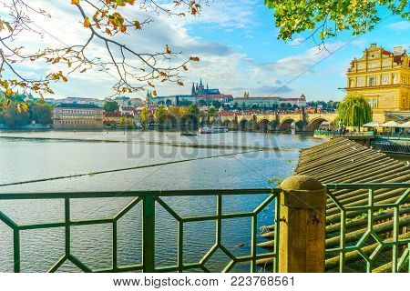 View From The Prague Embankment To Prague Castle And Charles Bridge In Prague, In The Czech Republic