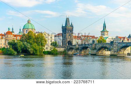 Charles Bridge In Prague In The Czech Republic. Old Town Bridge Tower. The Mill Peninsula.catholic C