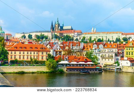 Prague Castle. The Charles Bridge. Medieval Fortress. The Vltava River. Red Tiled Roofs. View From C