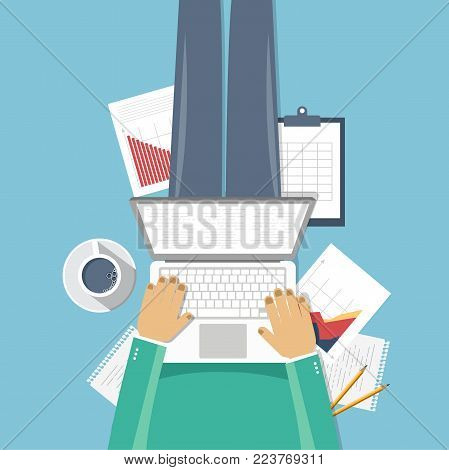 Business forecast banner. Man sitting on the floor and holding lap top in his lap. Flat vector illustration