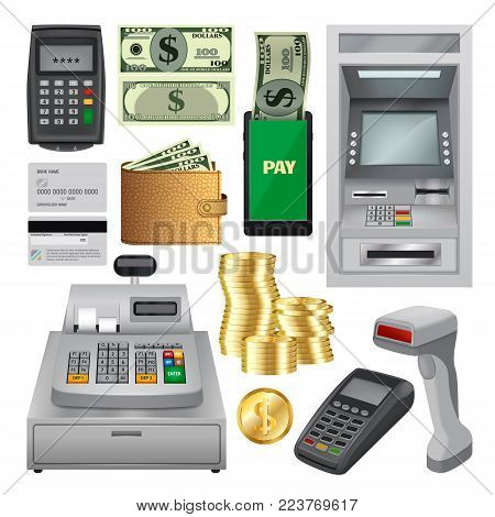 Money transactions mockup set. Realistic illustration of 10 money transaction mockups for web