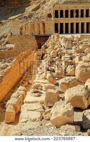 Luxor, Egypt - November 13. 2006: Hatchepsut Temple ruins in Luxor near Nile river. Egypt