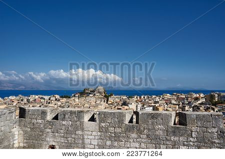 Walls Venetian fortress and Old town  on the island of Corfu