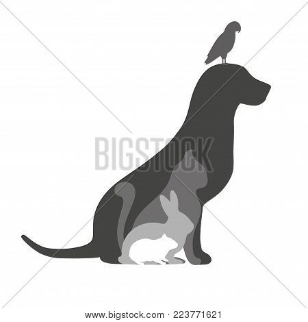 silhouette dog cat rabbit hamster and bird on white background
