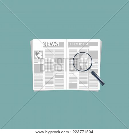 Newspaper and magnifying glass. Flat vector illustration