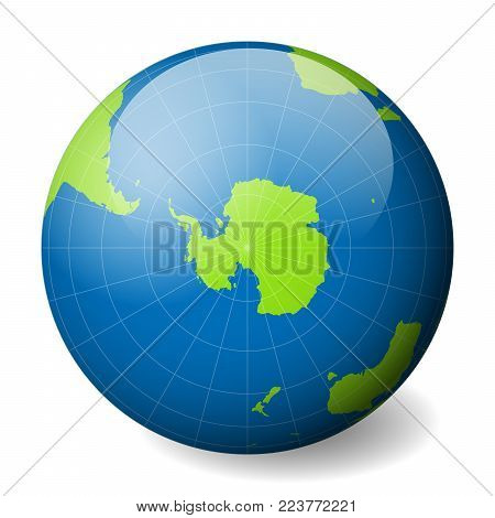 Earth globe with green world map and blue seas and oceans focused on Antarctica and South Pole. With thin white meridians and parallels. 3D glossy sphere vector illustration.