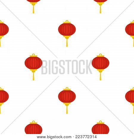 Red chinese lantern pattern seamless background in flat style repeat vector illustration