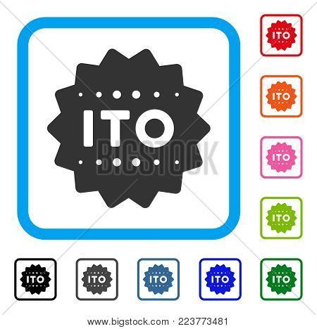 Ito Token icon. Flat gray iconic symbol in a blue rounded rectangle. Black, grey, green, blue, red, orange color additional versions of ito token vector. Designed for web and app interfaces.