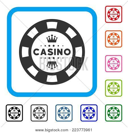 Royal Casino Chip icon. Flat gray iconic symbol inside a blue rounded rectangular frame. Black, grey, green, blue, red, orange color additional versions of royal casino chip vector.