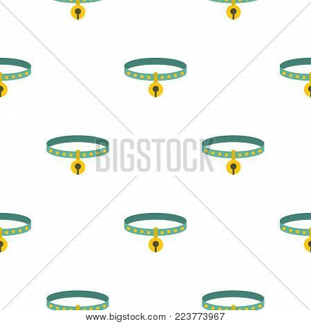 Cat collar pattern seamless background in flat style repeat vector illustration