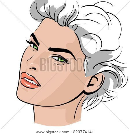 A woman's face. illustration. An imaginative portrait of a passionate woman.