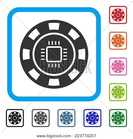 Cpu Casino Chip icon. Flat gray pictogram symbol inside a blue rounded rectangular frame. Black, grey, green, blue, red, orange color versions of cpu casino chip vector.