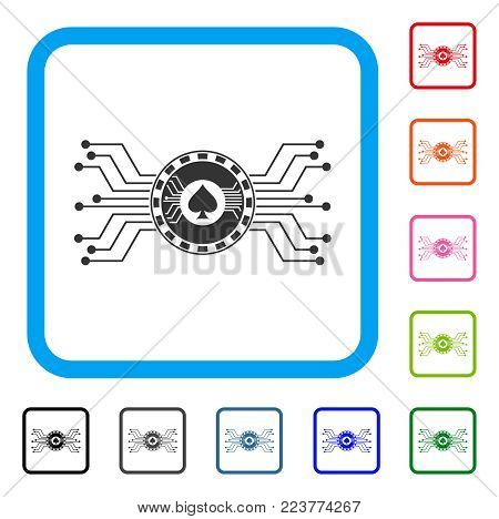 Digital Casino Circuit icon. Flat gray iconic symbol in a blue rounded frame. Black, grey, green, blue, red, pink color variants of digital casino circuit vector.