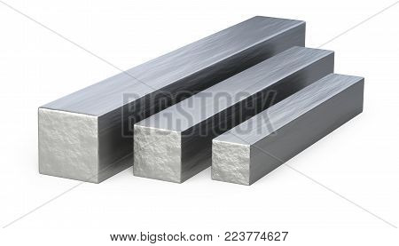 Steel square profile. 3d illustration isolated over white background.
