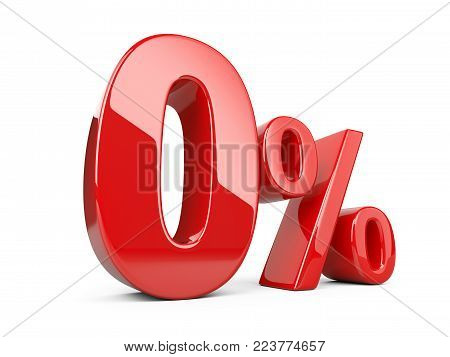 Red zero percent or 0 % special Offer. Isolated over white background 3d illustration.