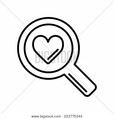 magnifier with heart vector icon, search icon, flat design best vector magnifier illustration. outline design