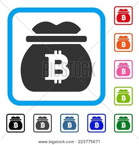 Bitcoin Money Bag icon. Flat grey iconic symbol inside a blue rounded rectangle. Black, gray, green, blue, red, orange color additional versions of bitcoin money bag vector.