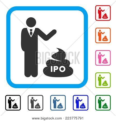 Businessman Show Ipo Shit icon. Flat gray iconic symbol in a blue rounded squared frame. Black, grey, green, blue, red, pink color versions of businessman show IPO shit vector.