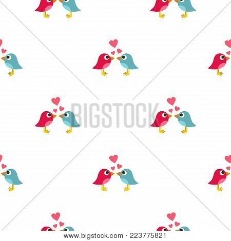 Blue and pink birds with hearts pattern seamless background in flat style repeat vector illustration
