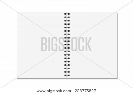 Blank open pages book with binder metal spiral template. Notebook mock up isolated on white background. Vector illustration