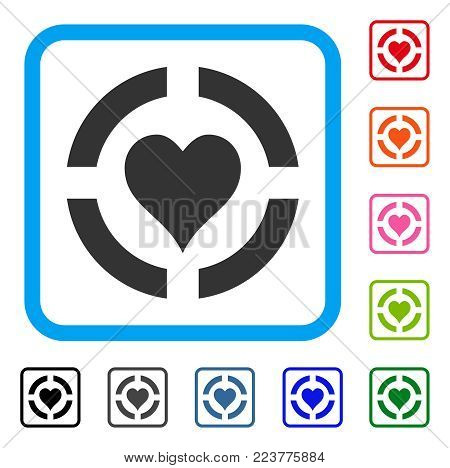 Casino Hearts Suit icon. Flat gray iconic symbol in a blue rounded rectangle. Black, grey, green, blue, red, pink color variants of casino hearts suit vector. Designed for web and app user interface.