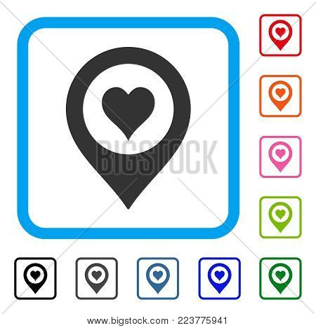 Casino Map Marker icon. Flat gray iconic symbol in a blue rounded rectangle. Black, gray, green, blue, red, pink color versions of casino map marker vector. Designed for web and app interfaces.