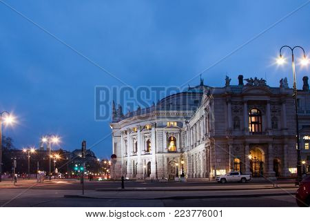 the historic Burgtheater in Vienna (Austria), most important german language theatre in the world, at night