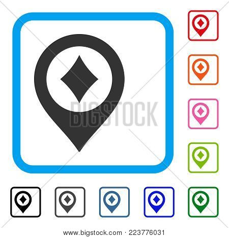 Casino Map Pointer icon. Flat grey pictogram symbol in a blue rounded squared frame. Black, grey, green, blue, red, pink color variants of casino map pointer vector.