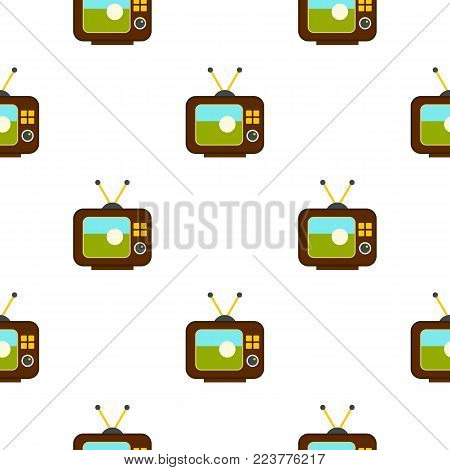 Ball on the screen of retro TV pattern seamless background in flat style repeat vector illustration