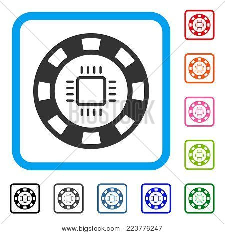 Cpu Casino Chip icon. Flat gray pictogram symbol in a blue rounded square. Black, grey, green, blue, red, orange color variants of cpu casino chip vector.