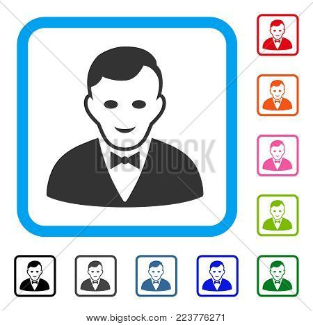 Croupier Manager icon. Flat gray iconic symbol inside a blue rounded rectangle. Black, grey, green, blue, red, orange color variants of croupier manager vector. Designed for web and app UI.