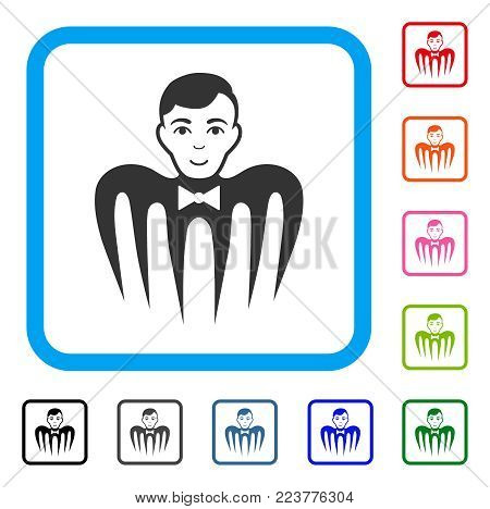Croupier Spectre Monster icon. Flat gray pictogram symbol inside a blue rounded frame. Black, gray, green, blue, red, pink color additional versions of croupier spectre monster vector.