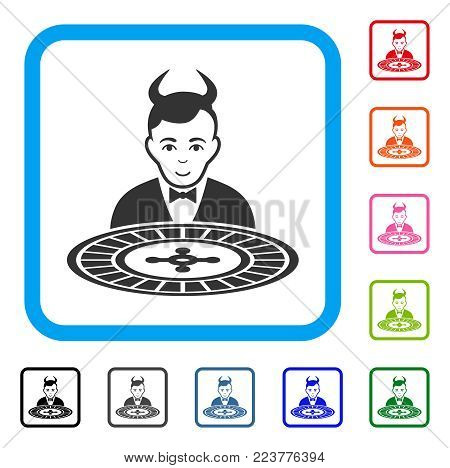 Devil Roulette Croupier icon. Flat grey pictogram symbol in a blue rounded squared frame. Black, gray, green, blue, red, pink color versions of devil roulette croupier vector.