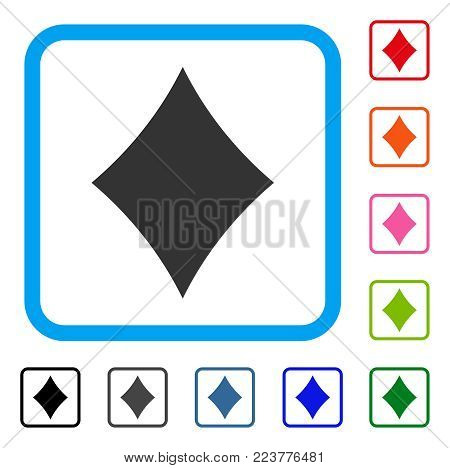 Diamonds Suit icon. Flat grey iconic symbol in a blue rounded rectangle. Black, gray, green, blue, red, orange color additional versions of diamonds suit vector.
