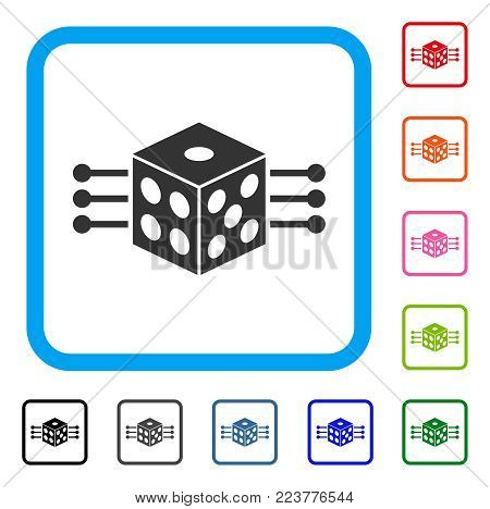 Dice Links icon. Flat grey pictogram symbol inside a blue rounded rectangle. Black, gray, green, blue, red, pink color variants of dice links vector. Designed for web and software interfaces.