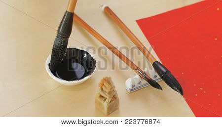 Writing Chinese calligraphy tool on the table
