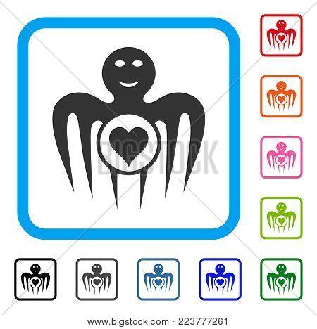 Gambling Happy Monster icon. Flat grey pictogram symbol inside a blue rounded squared frame. Black, grey, green, blue, red, orange color variants of gambling happy monster vector.