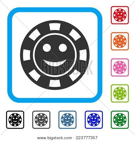 Glad Casino Chip icon. Flat gray iconic symbol in a blue rounded rectangular frame. Black, grey, green, blue, red, orange color additional versions of glad casino chip vector.