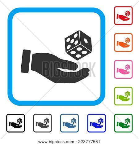 Hand Throw Dice icon. Flat grey pictogram symbol inside a blue rounded squared frame. Black, gray, green, blue, red, orange color versions of hand throw dice vector.