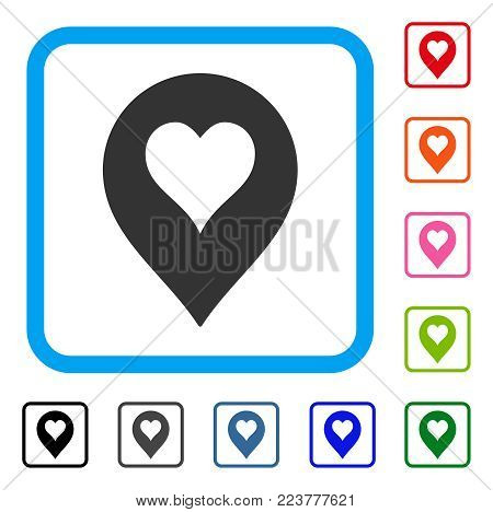 Heart Casino Marker icon. Flat gray iconic symbol inside a blue rounded square. Black, gray, green, blue, red, pink color variants of heart casino marker vector.