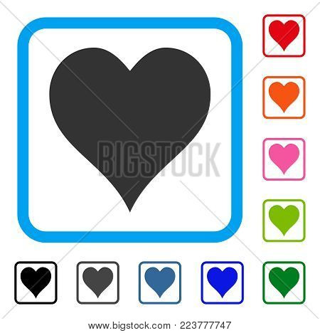 Hearts Suit icon. Flat gray pictogram symbol inside a blue rounded rectangle. Black, grey, green, blue, red, pink color additional versions of hearts suit vector.