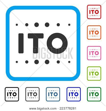 Ito Caption icon. Flat grey pictogram symbol inside a blue rounded squared frame. Black, grey, green, blue, red, pink color variants of ito caption vector. Designed for web and software interfaces.
