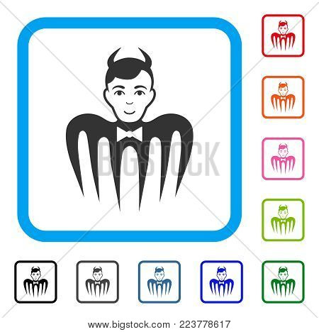 Manager Spectre Devil icon. Flat gray pictogram symbol inside a blue rounded frame. Black, gray, green, blue, red, pink color versions of manager spectre devil vector.