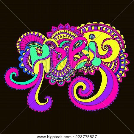 Bright color word Holi mandala, to the Indian holiday. Ethnic bohemian background. Vintage decorative doodle element.Indian motifs.Vector hand drawn letters Holi. Festive card for the holiday of color.