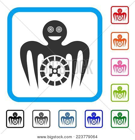 Roulette Mad Monster icon. Flat grey pictogram symbol in a blue rounded squared frame. Black, gray, green, blue, red, orange color variants of roulette mad monster vector.