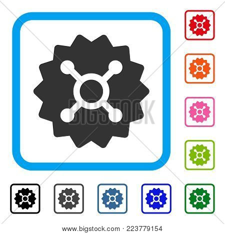 Roulette Token icon. Flat grey pictogram symbol in a blue rounded frame. Black, grey, green, blue, red, orange color variants of roulette token vector. Designed for web and software UI.