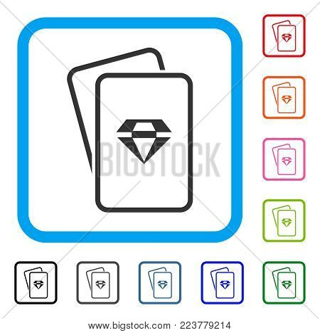 Ruby Gambling Cards icon. Flat grey iconic symbol in a blue rounded squared frame. Black, gray, green, blue, red, pink color variants of ruby gambling cards vector. Designed for web and app UI.