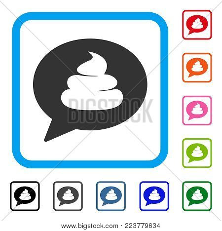 Shit Idea Balloon icon. Flat grey iconic symbol in a blue rounded rectangle. Black, grey, green, blue, red, pink color variants of shit idea balloon vector. Designed for web and software UI.